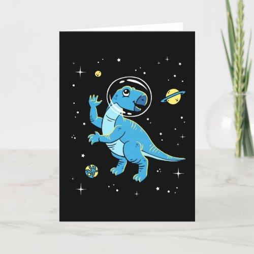 Blue Rhabdodon Dinos In Space Card