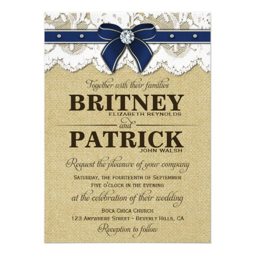 Rustic Blue Wedding Invitations
