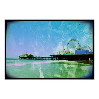 Blue Santa Monica Pier Perfect Poster