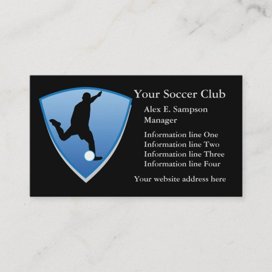 Blue Shield Soccer Player Business Template Business Card