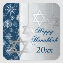 Blue Silver Snowflakes Happy Hanukkah Sticker