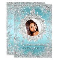 Blue Silver Tiara Snowflake Sparkle Quinceanera Card