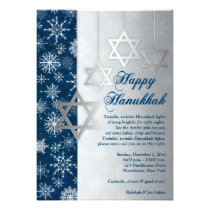 Blue Silver White Snowflakes Hanukkah Party Invitation