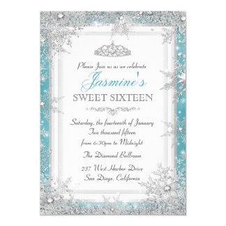 Wedding Invitations Winter Snowflake Blue Silver