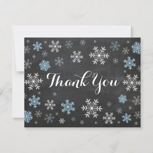 Blue Snowflakes Winter Chalkboard Thank You Card