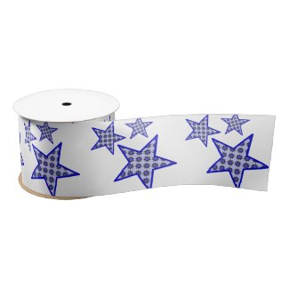 Blue star flowers on white in pattern on ribbon