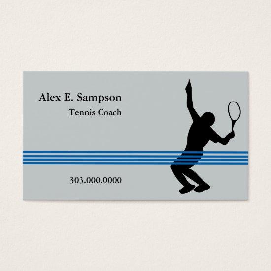 Blue Stripe Tennis Coach Business Card