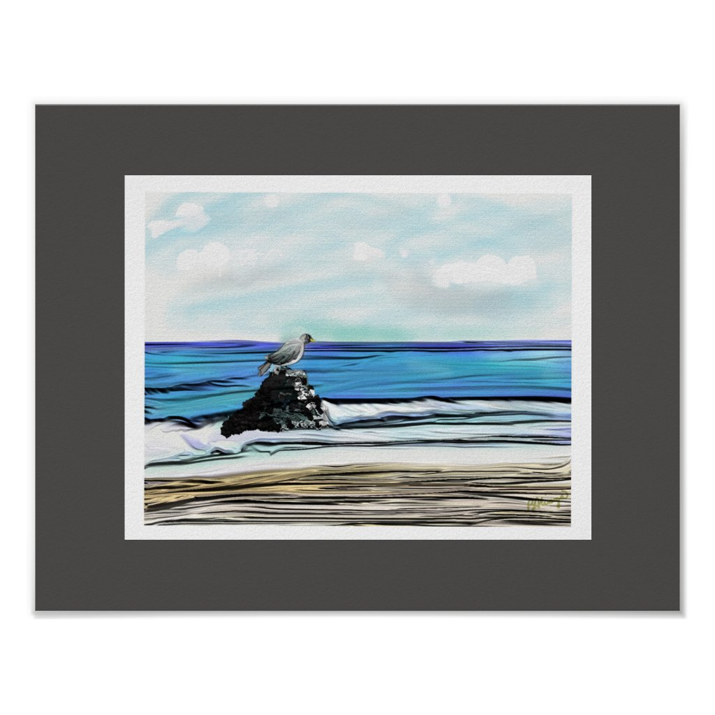 Blue Surrealistic View Of The Sea Poster