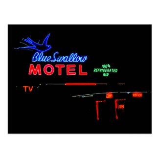 Blue Swallow Motel Sign, Tucumcari, New Mexico Post Card