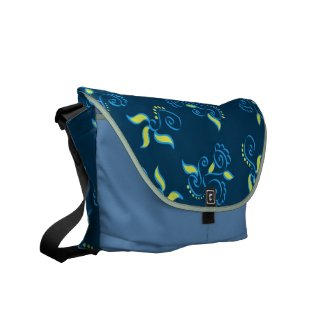 Blue swirls pattern commuter bags