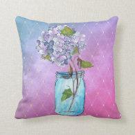 Blue to Violet Latticed Hydrangea in Blue Jar Throw Pillow