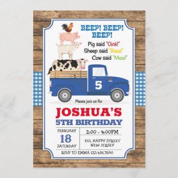 Blue Truck Birthday Invitation. Farm Invite