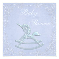 Blue Unicorn Rocking Horse Glitter Baby Shower Card