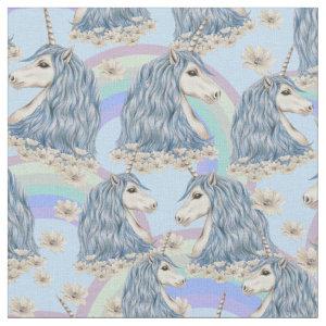Blue Unicorns With Rainbows Fabric