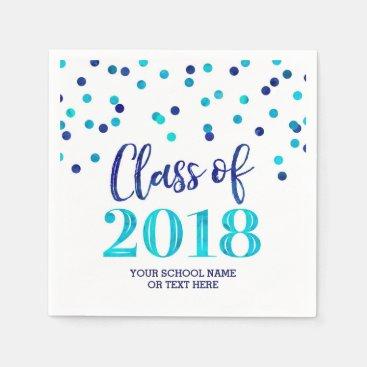 Blue Watercolor Confetti Class of 2018 Graduation Paper Napkin