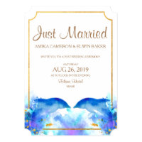 Blue Watercolor Dolphin Wedding Announcements Card