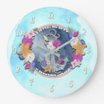 Blue Watercolor Modern Nautical Floral Anchor Large Clock