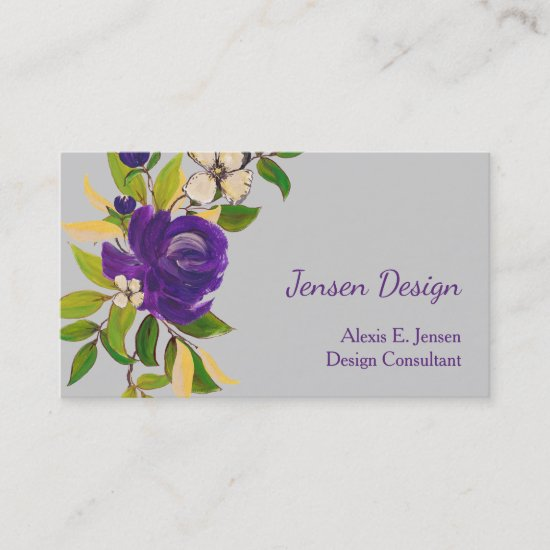 Blue Watercolor Rose Business Card