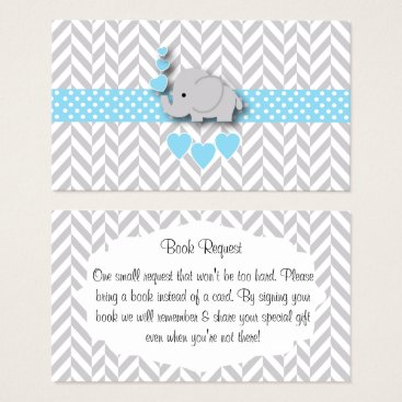 Blue White Gray Elephant Baby Shower Book Request Business Card