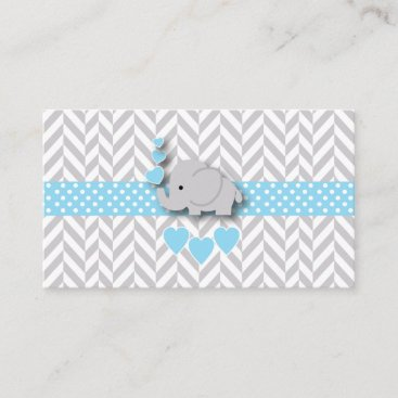 Blue White Gray Elephant Baby Shower Diaper Raffle Enclosure Card