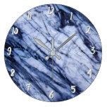 Blue & White Marble Swirl Modern Chic Large Clock