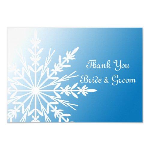 Blue White Snowflake Winter Wedding Thank You Note Invitation