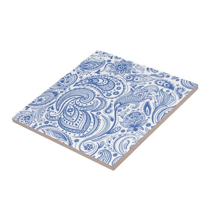 blue white vintage floral paisley pattern ceramic tile zazzle com