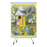 Bluebirds and Round Birdhouse Yellow Tripod Lamp