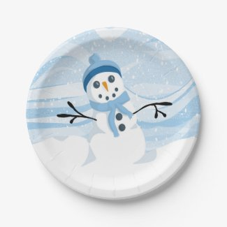 Bluesy Snowman Paper Plates 7 Inch Paper Plate
