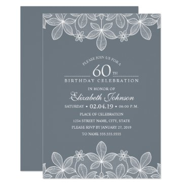 Bluish Grey 60th Birthday Party Creative Lace Invitation