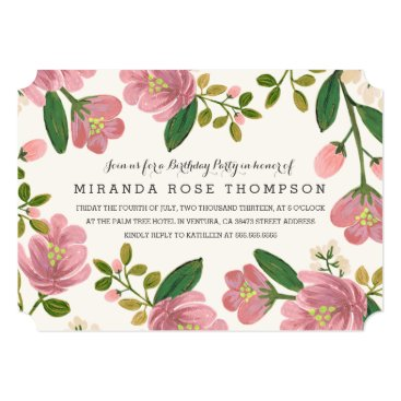 Blush Bouquet Birthday Party Card