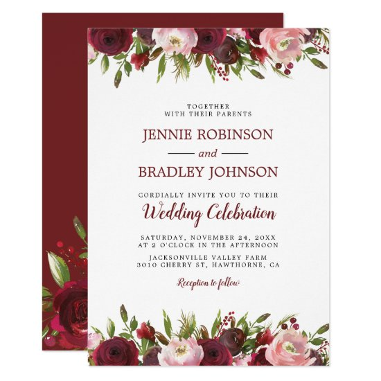 Blush Burgundy Watercolor Floral Wedding Invitation