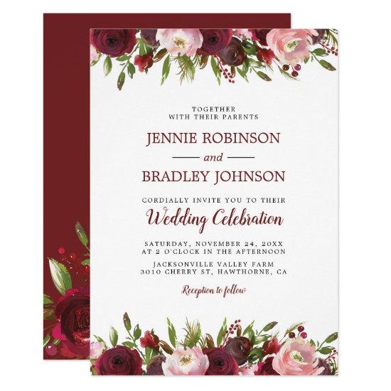 Blush Burgundy Watercolor Floral Wedding Invitation