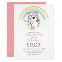 Blush Coral Pink Unicorn Baby Shower Invite
