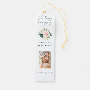 Blush Floral Celebration Of Life Bookmark, Photo Award Ribbon