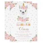 Blush Floral Llama Unicorn Birthday Llamacorn Invitation