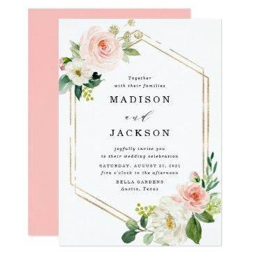 Blush Florals   Gold Frame Wedding Invitation