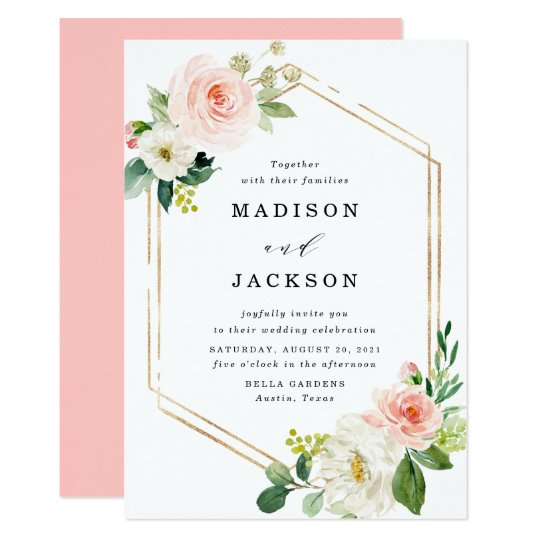 Blush Fls Gold Frame Wedding Invitation