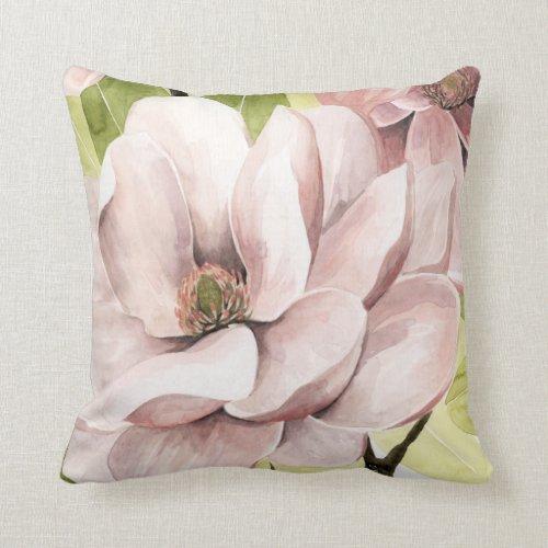 Blush Magnolia Flowers Throw Pillow