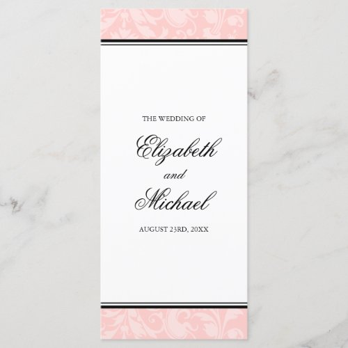 Blush Pink and Black Damask Swirl Wedding Program