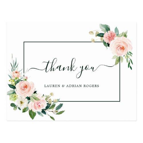 Blush Pink Bloom Wedding Thank You Postcard