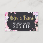 Blush Pink Floral and Black Gold Loyalty Referral