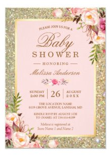 Blush Pink Fl Gold Sparkles Baby Shower Invitation