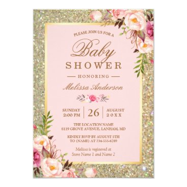 Blush Pink Floral Gold Sparkles Baby Shower Invitation