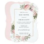 Blush Pink Rose Floral Baby Shower Invitation