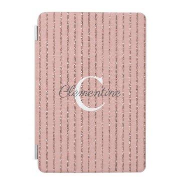 Blush Pink Rose Gold Glitter Stripes Monogram iPad Mini Cover