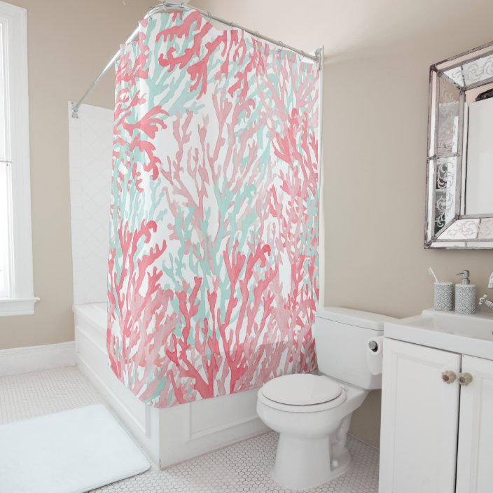 blush pink teal coral hand painted reef floral shower curtain zazzle com