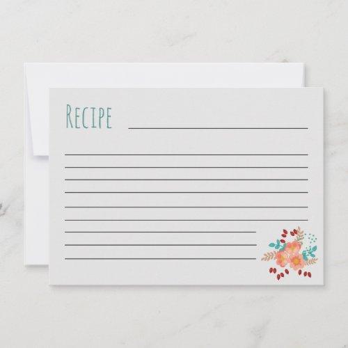 Blush &amp&#x3B; Teal Bouquet Recipe Card