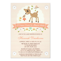 BLUSH WOODLAND DEER BABY SHOWER INVITATIONS