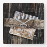 Boarded Up Old Wooden House Window Square Wall Clock